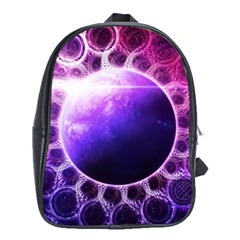 Beautiful Violet Nasa Deep Dream Fractal Mandala School Bag (xl)