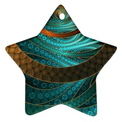 Beautiful Leather & Blue Turquoise Fractal Jewelry Ornament (star)