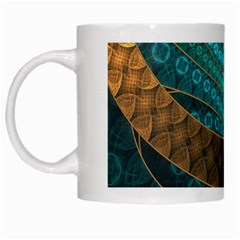Beautiful Leather & Blue Turquoise Fractal Jewelry White Mugs