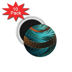 Beautiful Leather & Blue Turquoise Fractal Jewelry 1 75  Magnets (10 Pack)