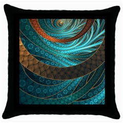 Beautiful Leather & Blue Turquoise Fractal Jewelry Throw Pillow Case (black)