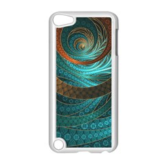 Beautiful Leather & Blue Turquoise Fractal Jewelry Apple Ipod Touch 5 Case (white)