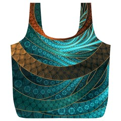 Beautiful Leather & Blue Turquoise Fractal Jewelry Full Print Recycle Bags (l)