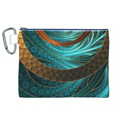 Beautiful Leather & Blue Turquoise Fractal Jewelry Canvas Cosmetic Bag (xl)