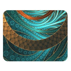 Beautiful Leather & Blue Turquoise Fractal Jewelry Double Sided Flano Blanket (large)