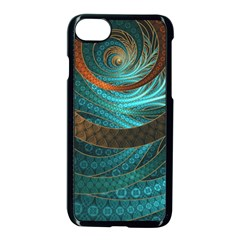 Beautiful Leather & Blue Turquoise Fractal Jewelry Apple Iphone 8 Seamless Case (black)