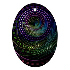 Oz The Great With Technicolor Fractal Rainbow Ornament (oval)