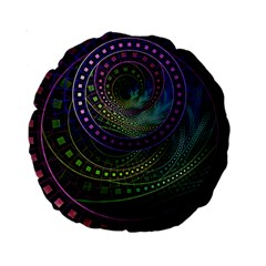 Oz The Great With Technicolor Fractal Rainbow Standard 15  Premium Round Cushions