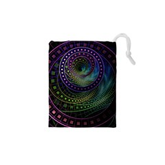 Oz The Great With Technicolor Fractal Rainbow Drawstring Pouches (xs)