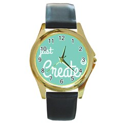 Bloem Logomakr 9f5bze Round Gold Metal Watch