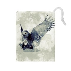 Cute Owl In Watercolor Drawstring Pouches (large)