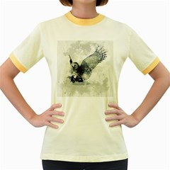 Cute Owl In Watercolor Women s Fitted Ringer T Shirts