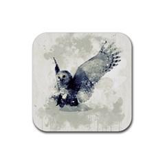 Cute Owl In Watercolor Rubber Coaster (square)