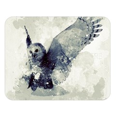Cute Owl In Watercolor Double Sided Flano Blanket (large)