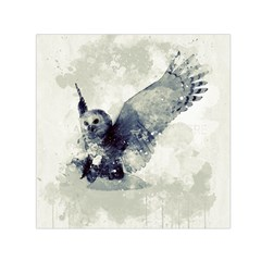 Cute Owl In Watercolor Small Satin Scarf (square)