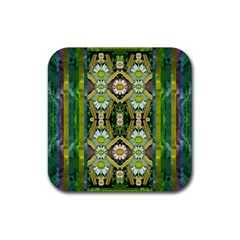Bread Sticks And Fantasy Flowers In A Rainbow Rubber Square Coaster (4 Pack)