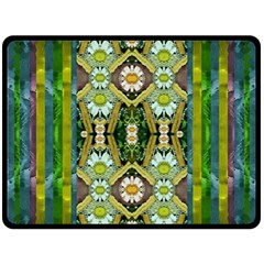 Bread Sticks And Fantasy Flowers In A Rainbow Double Sided Fleece Blanket (large)