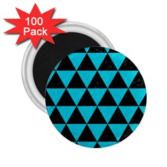 Triangle3 Black Marble & Turquoise Colored Pencil 2 25  Magnets (100 Pack)