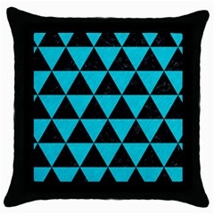 Triangle3 Black Marble & Turquoise Colored Pencil Throw Pillow Case (black)