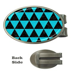 Triangle3 Black Marble & Turquoise Colored Pencil Money Clips (oval)