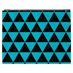 Triangle3 Black Marble & Turquoise Colored Pencil Cosmetic Bag (xxxl)