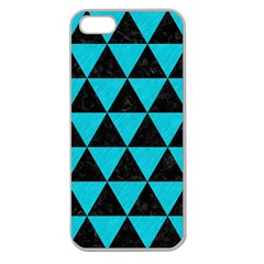 Triangle3 Black Marble & Turquoise Colored Pencil Apple Seamless Iphone 5 Case (clear)