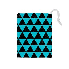 Triangle3 Black Marble & Turquoise Colored Pencil Drawstring Pouches (medium)