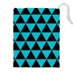 Triangle3 Black Marble & Turquoise Colored Pencil Drawstring Pouches (xxl)