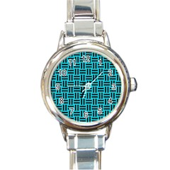 Woven1 Black Marble & Turquoise Colored Pencil Round Italian Charm Watch