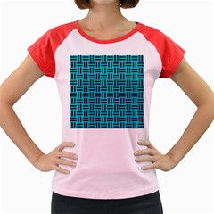 Woven1 Black Marble & Turquoise Colored Pencil Women s Cap Sleeve T Shirt