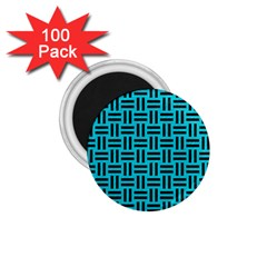 Woven1 Black Marble & Turquoise Colored Pencil 1 75  Magnets (100 Pack)