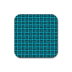 Woven1 Black Marble & Turquoise Colored Pencil Rubber Square Coaster (4 Pack)
