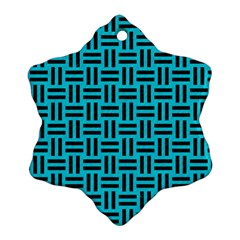 Woven1 Black Marble & Turquoise Colored Pencil Ornament (snowflake)