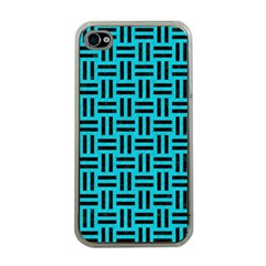 Woven1 Black Marble & Turquoise Colored Pencil Apple Iphone 4 Case (clear)