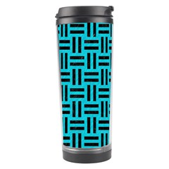 Woven1 Black Marble & Turquoise Colored Pencil Travel Tumbler