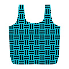 Woven1 Black Marble & Turquoise Colored Pencil Full Print Recycle Bags (l)