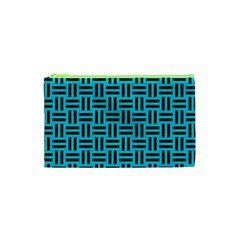 Woven1 Black Marble & Turquoise Colored Pencil Cosmetic Bag (xs)