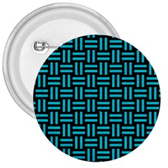 Woven1 Black Marble & Turquoise Colored Pencil (r) 3  Buttons