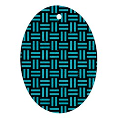 Woven1 Black Marble & Turquoise Colored Pencil (r) Ornament (oval)
