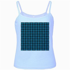 Woven1 Black Marble & Turquoise Colored Pencil (r) Baby Blue Spaghetti Tank