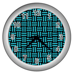 Woven1 Black Marble & Turquoise Colored Pencil (r) Wall Clocks (silver)