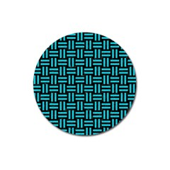 Woven1 Black Marble & Turquoise Colored Pencil (r) Magnet 3  (round)