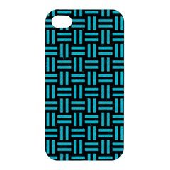 Woven1 Black Marble & Turquoise Colored Pencil (r) Apple Iphone 4/4s Premium Hardshell Case