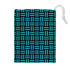 Woven1 Black Marble & Turquoise Colored Pencil (r) Drawstring Pouches (extra Large)