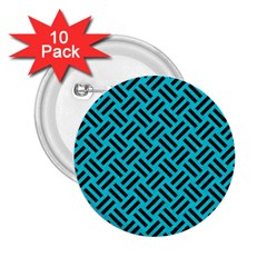 Woven2 Black Marble & Turquoise Colored Pencil 2 25  Buttons (10 Pack)