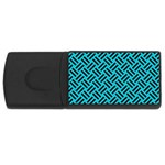 WOVEN2 BLACK MARBLE & TURQUOISE COLORED PENCIL Rectangular USB Flash Drive Front
