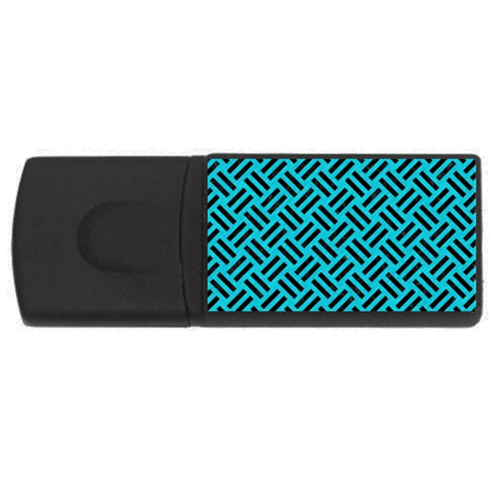 WOVEN2 BLACK MARBLE & TURQUOISE COLORED PENCIL Rectangular USB Flash Drive