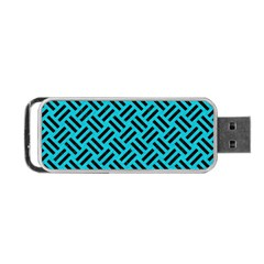 Woven2 Black Marble & Turquoise Colored Pencil Portable Usb Flash (two Sides)