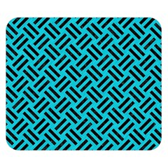 Woven2 Black Marble & Turquoise Colored Pencil Double Sided Flano Blanket (small)