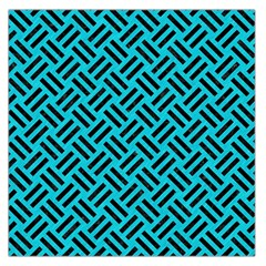 Woven2 Black Marble & Turquoise Colored Pencil Large Satin Scarf (square)